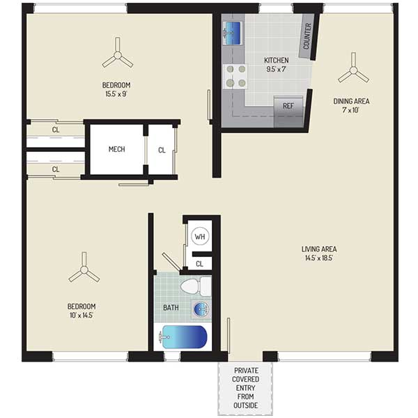 Northwest Park Apartments - Floorplan - 2 BR + 1 BA Apartment