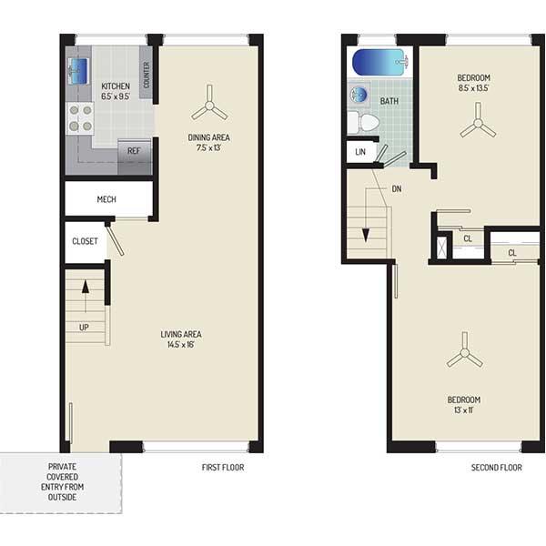 Northwest Park Apartments - Floorplan - 2 BR + 1 BA Townhome