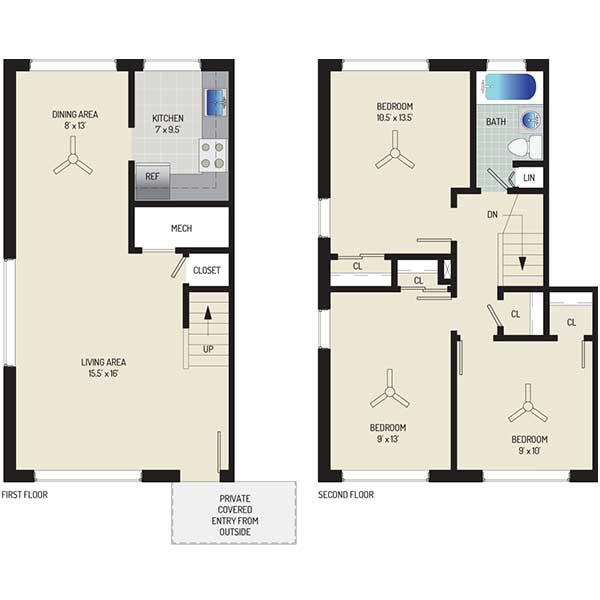 Northwest Park Apartments - Floorplan - 3BR + 1 BA Townhome