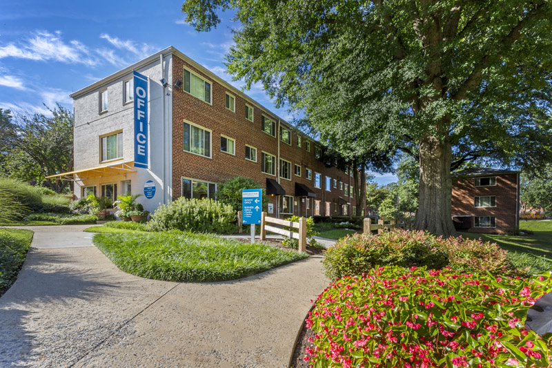 Lush landscaping at Northwest Park Apartments in Silver Spring, MD