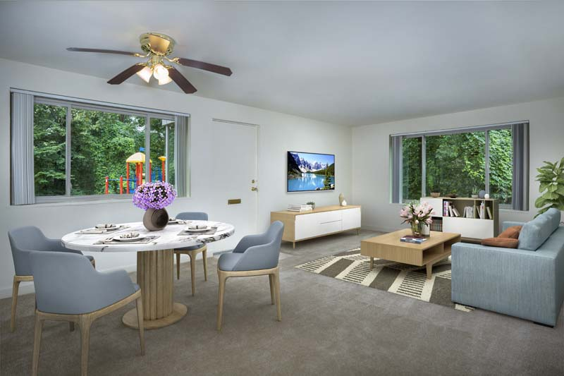 Spacious living and dining area at Northwest Park Apartments in Silver Spring, MD