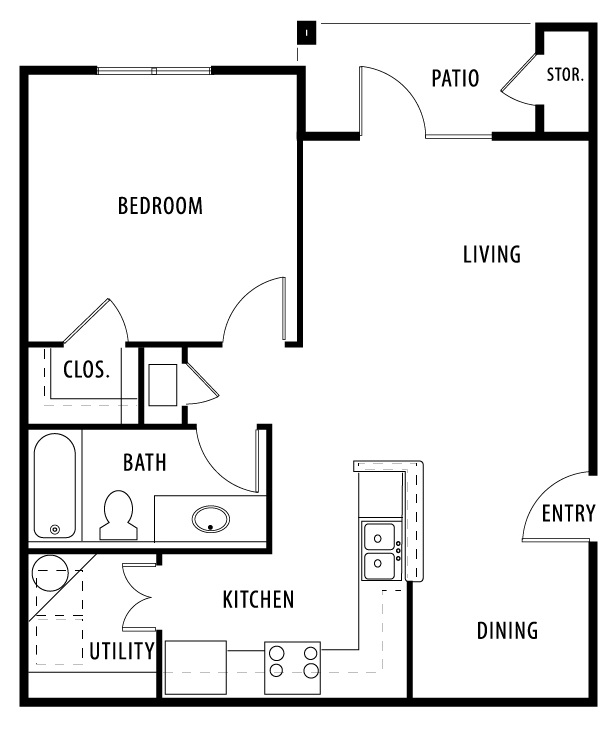 Oakland Hills Apartments - Floorplan - Plan A1