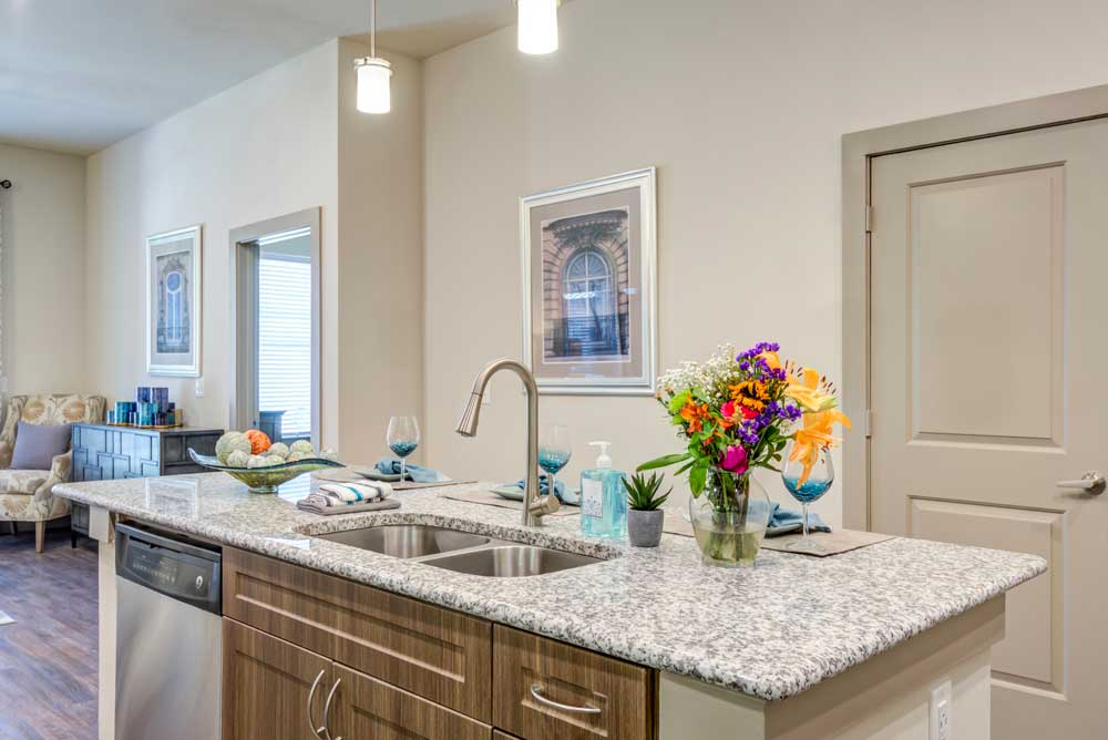 Kitchen Countertop at Oaks 55 Apartments in Euless, TX