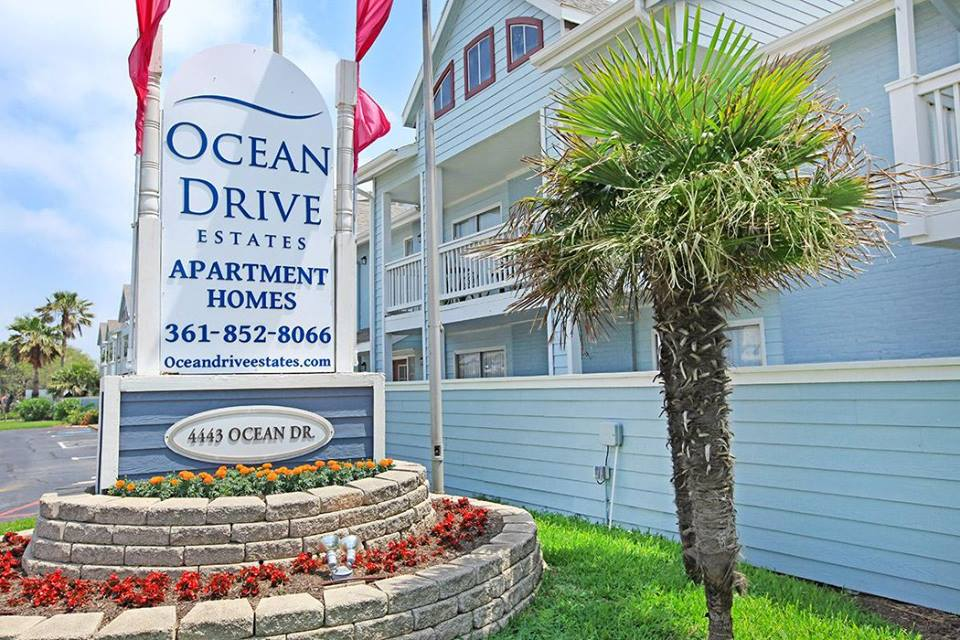 Property Sign at Ocean Drive Estates Apartments in Corpus Christi, TX