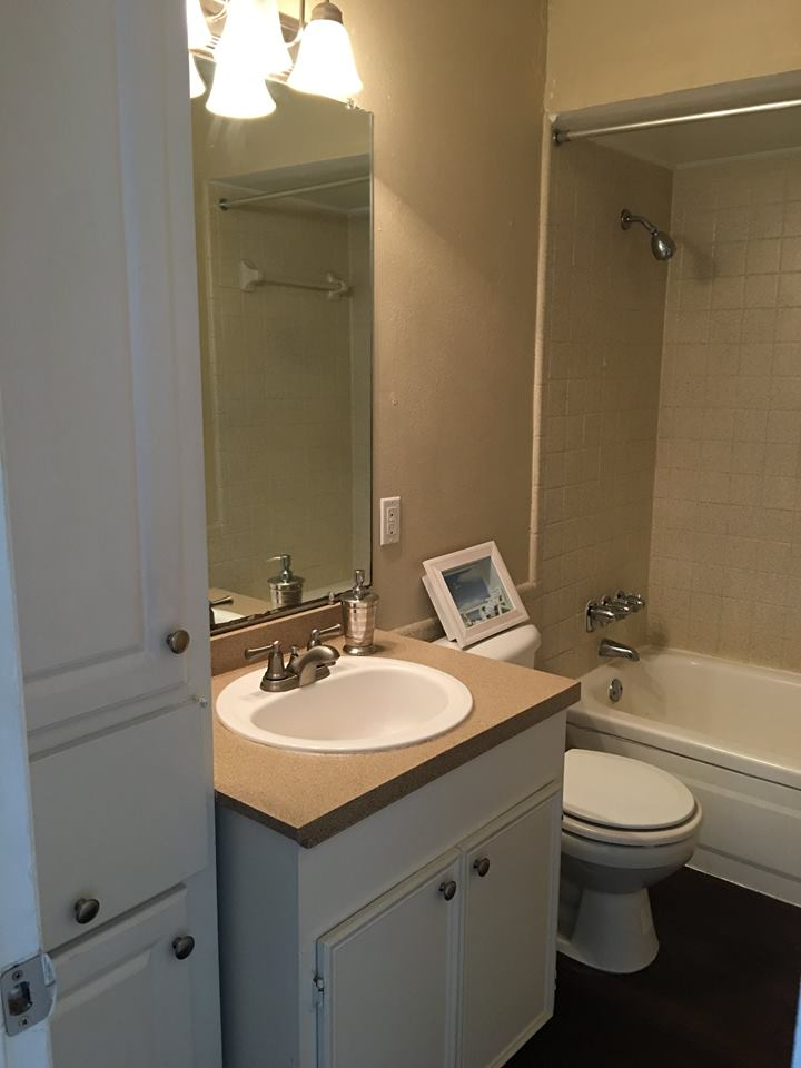 Bathroom Cabinet Storage at Ocean Drive Estates Apartments in Corpus Christi, TX