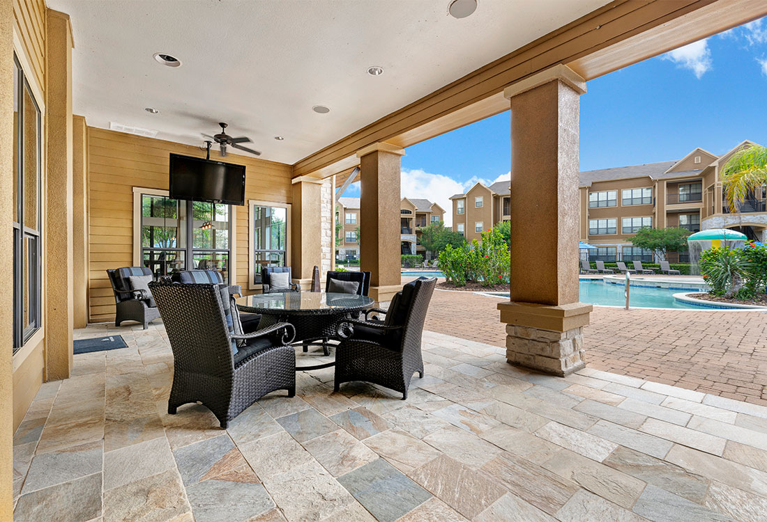 Outdoor Ceiling Fans at Preserve at Old Dowlen Apartments in Beaumont, TX
