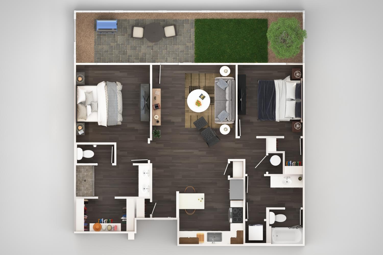 Village at Olive Marketplace - Floorplan - 2 BR