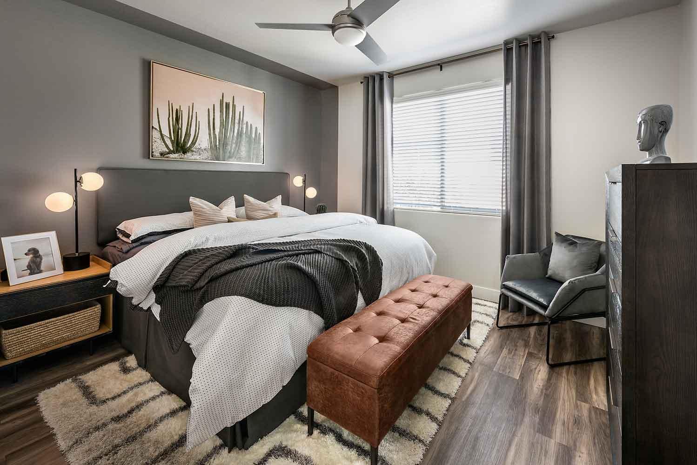 Bedroom at Village at Olive Marketplace Apartments in Glendale, AZ