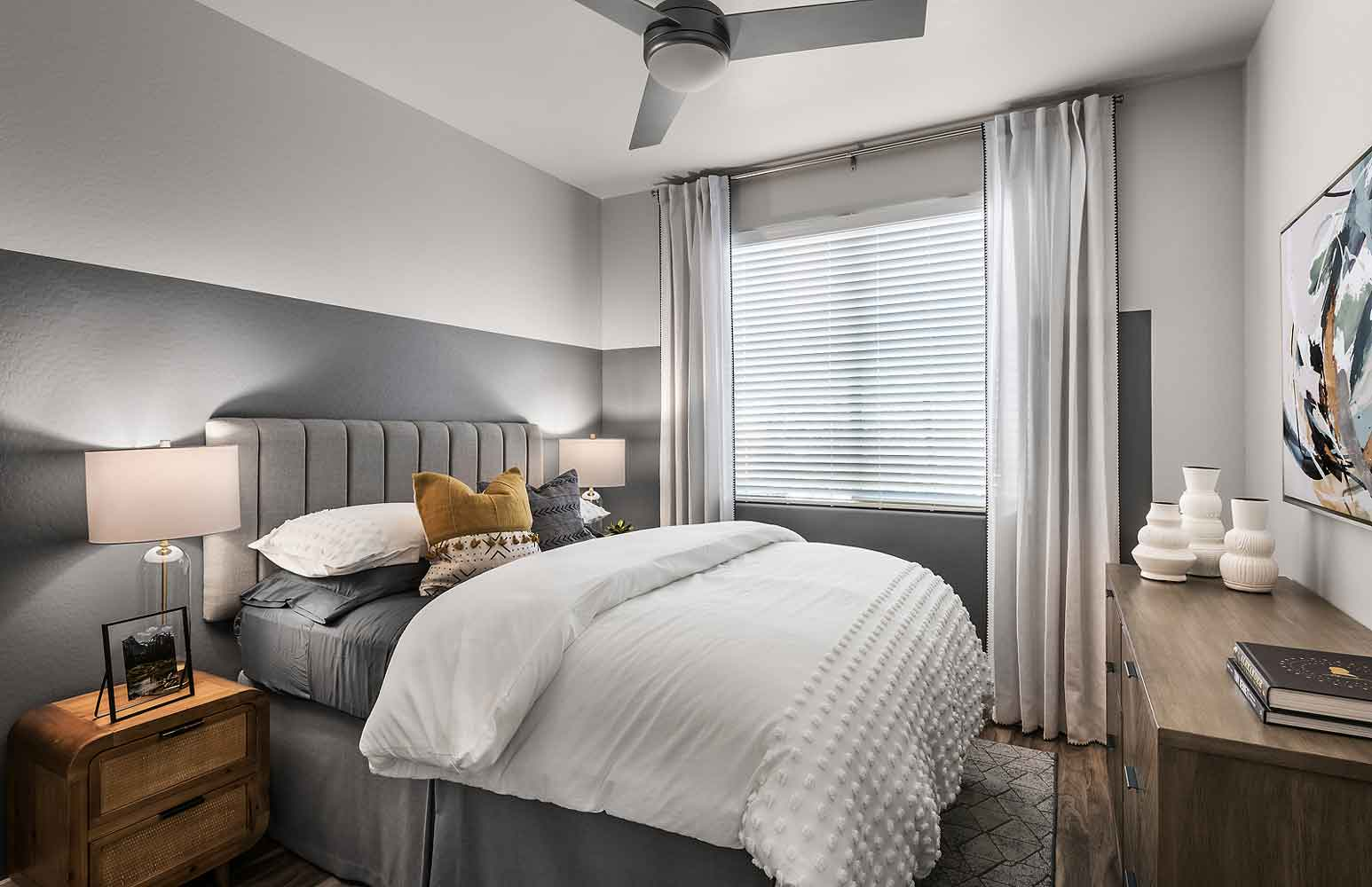 Bedroom at Olive Marketplace Apartments in Glendale, AZ