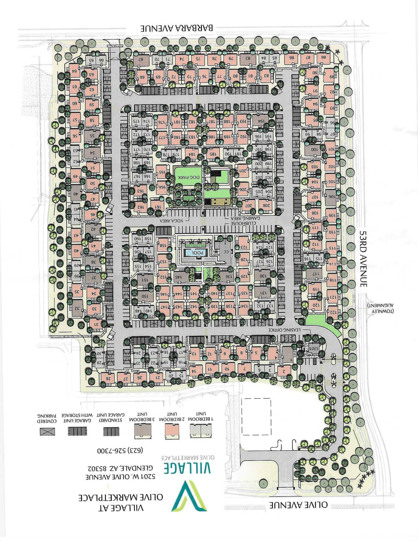 Site Plan for Olive Marketplace Apartments in Glendale, AZ