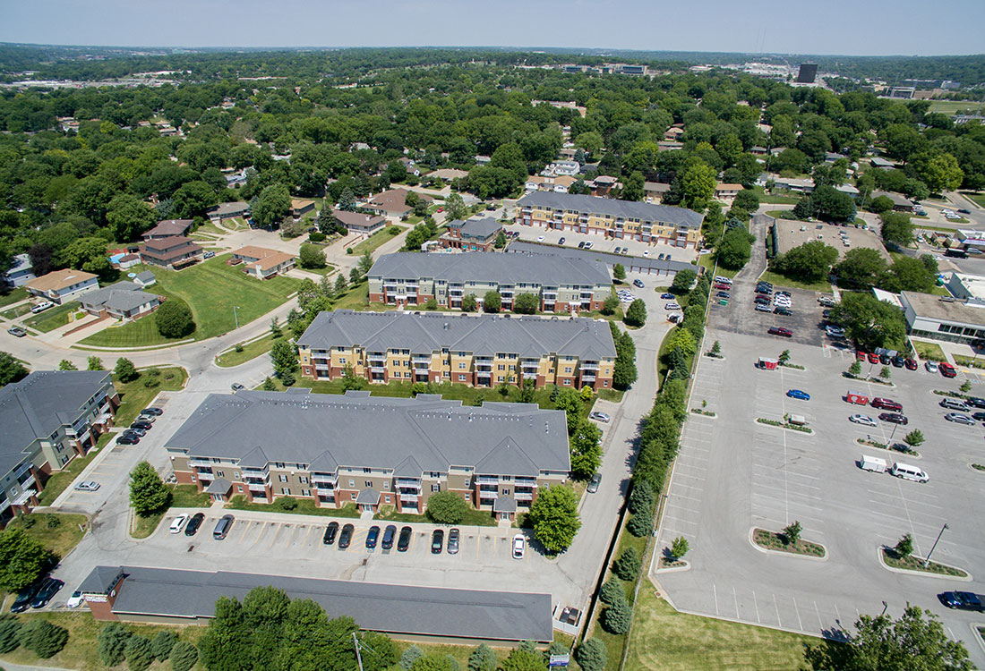 Aerial View of Ontario Place Apartments in Omaha, NE