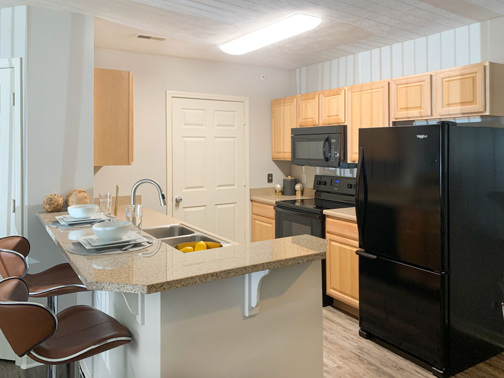 All-Black Appliances at Ontario Place Apartments in Omaha, Nebraska