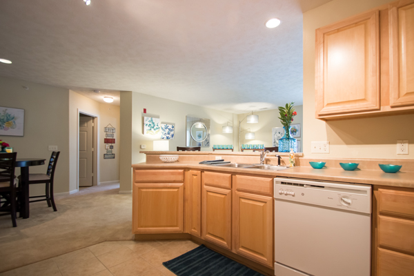 Large Kitchen, Dining & Living Room Space at Ontario Place Apartments in Omaha, NE