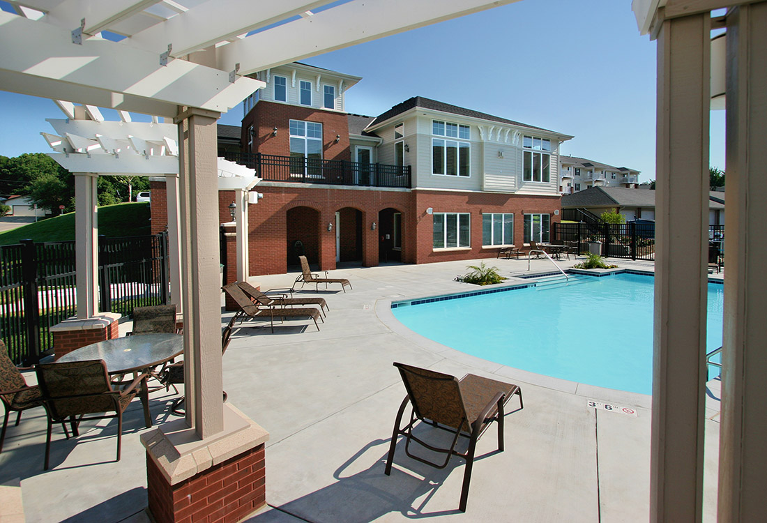 Pool Lounge Area at Ontario Place Apartments in Omaha, NE