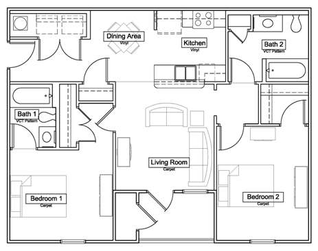 Overlook Terrace - Floorplan - The Redbud