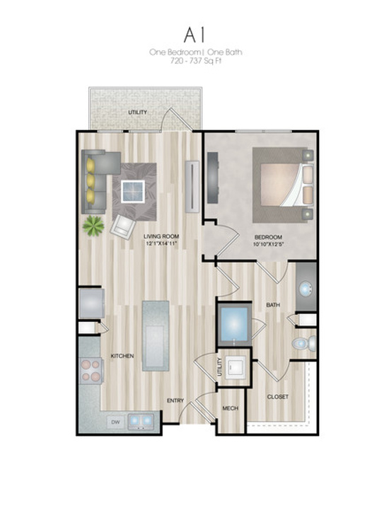 Oxford at Medical Center - Floorplan - A1