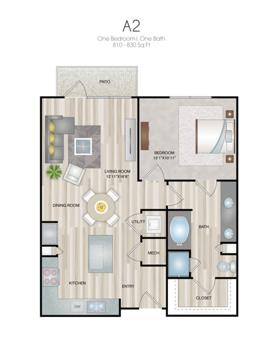 Oxford at Medical Center - Floorplan - A2