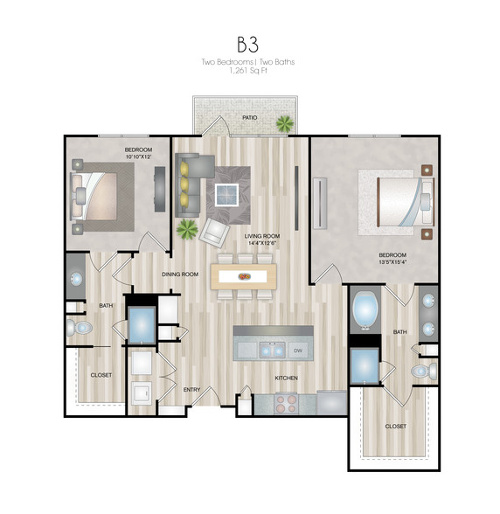 Oxford at Medical Center - Floorplan - B3
