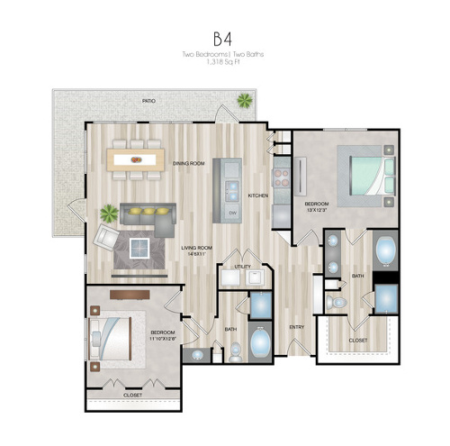 Oxford at Medical Center - Floorplan - B4