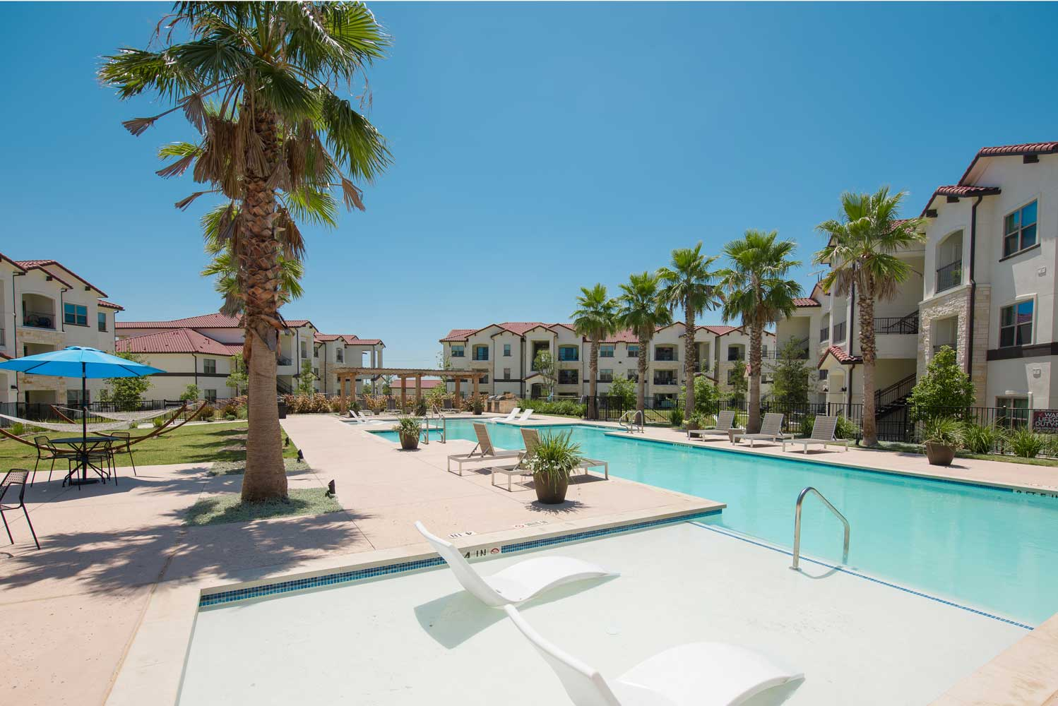 Resort Style Pool at Oxford at Santa Clara Apartments in Pflugerville, Texas