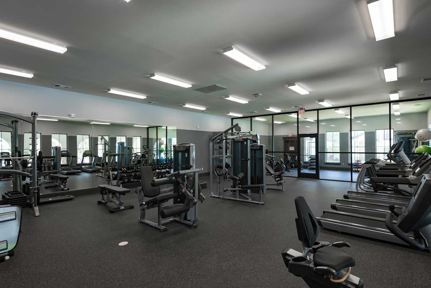 On Demand Fitness Center at Oxford at Santa Clara Apartments in Pflugerville, Texas