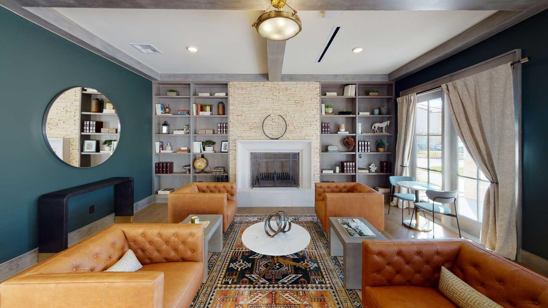 Living Room at Oxford at Santa Clara Apartments in Pflugerville, Texas