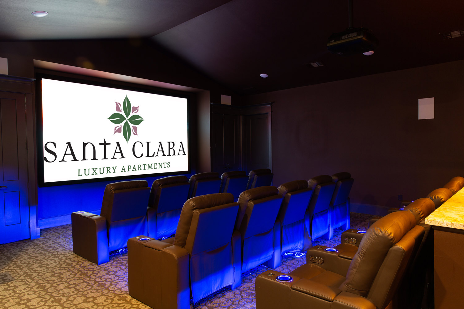 Movie Theater at Oxford at Santa Clara Apartments in Pflugerville, Texas