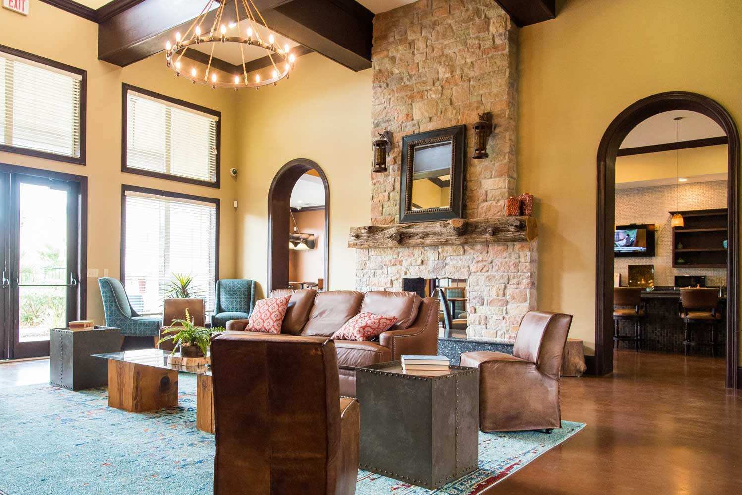 Elegant Clubhouse at the Oxford at Country Club Apartments in Baytown, TX