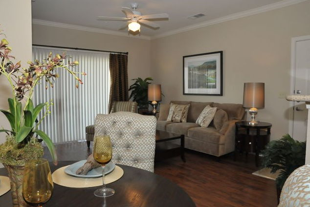 Living Room Interior at the Oxford at Country Club Apartments in Baytown, TX