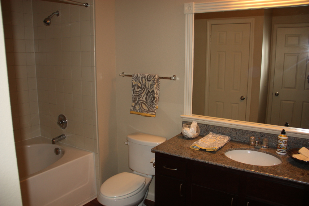 Upgraded Bathroom at the Oxford at Country Club Apartments in Baytown, TX