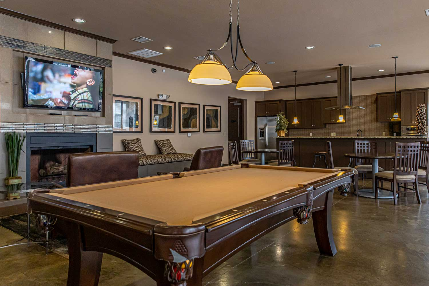 Pool Gaming Area at Oxford at Crossroads Centre Apartments in Waxahachie, TX