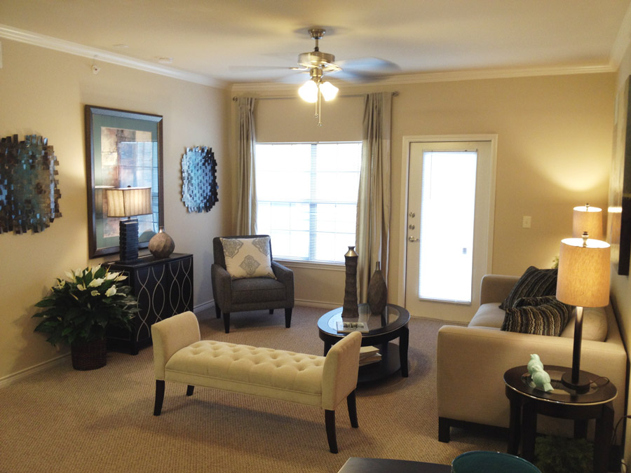 Living Room at Oxford at Crossroads Centre Apartments in Waxahachie, TX