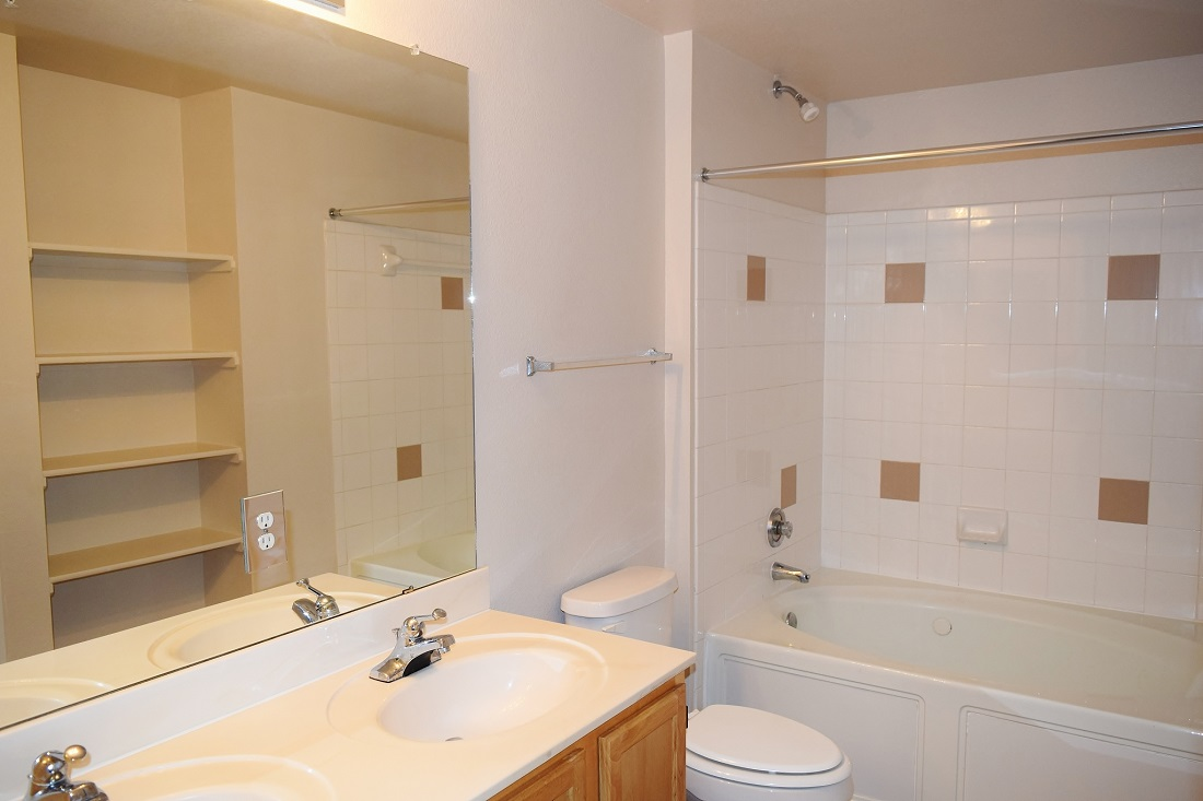 Refined Bathroom at The Oxford at Iron Horse Apartments in North Richland Hills, TX