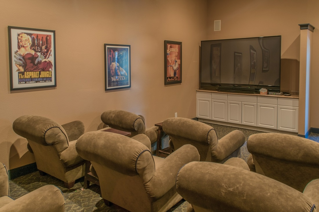Theater Room at The Oxford at Iron Horse Apartments in North Richland Hills, TX