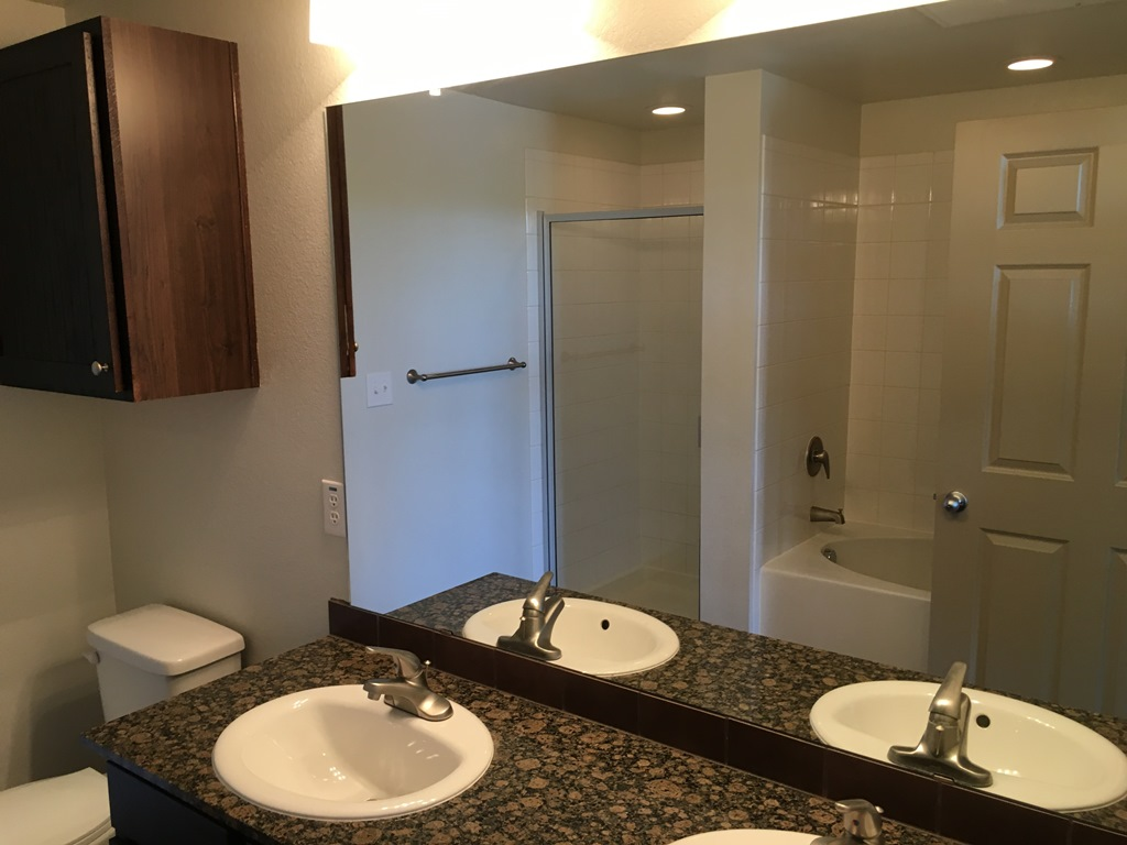 Bathroom at The Oxford at Iron Horse Apartments in North Richland Hills, TX