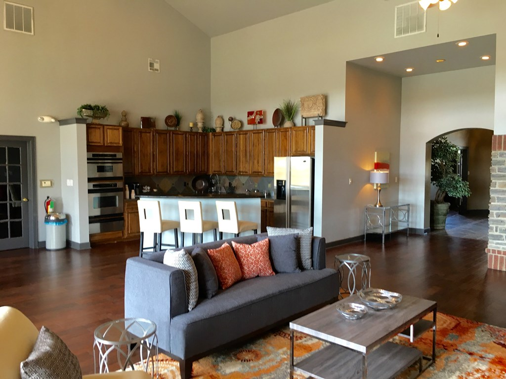 Living Room at The Oxford at Iron Horse Apartments in North Richland Hills, TX