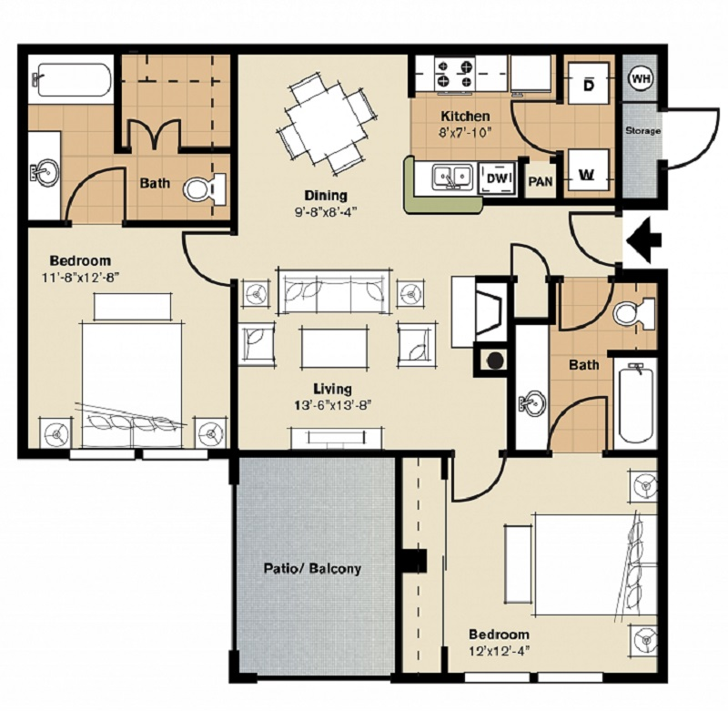 Oxford at Lake Worth Apartments - Floorplan - B1