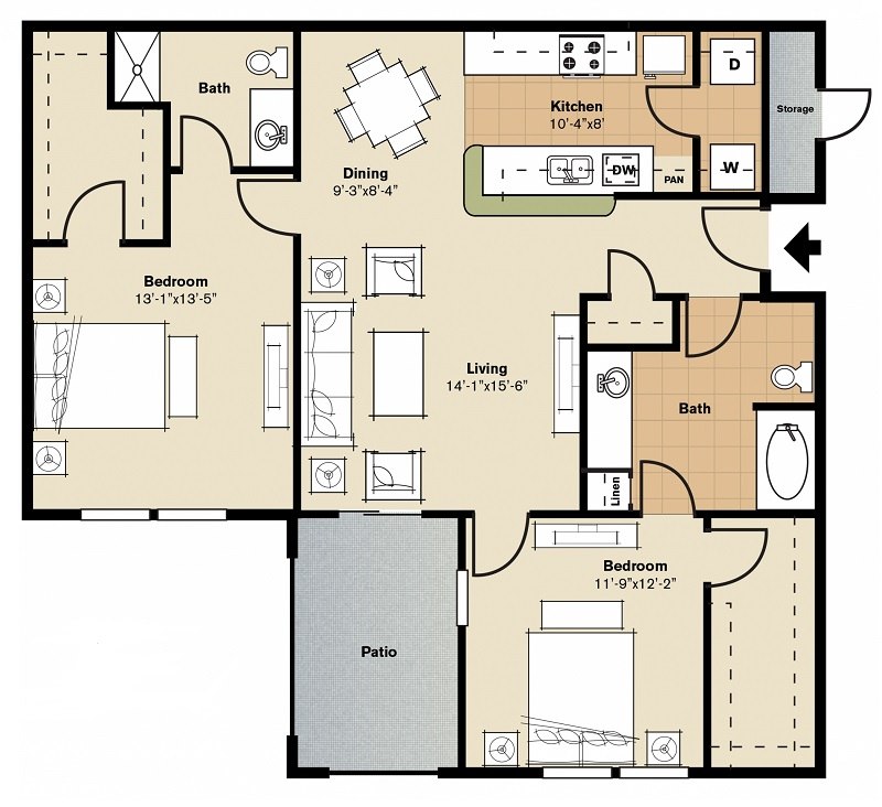 Oxford at Lake Worth Apartments - Floorplan - B3