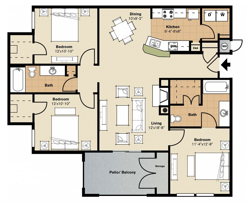 Oxford at Lake Worth Apartments - Floorplan - C1