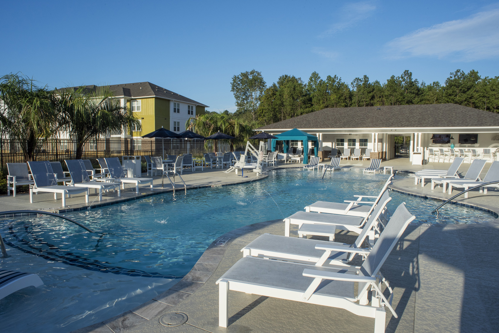 Resort-Style Pool at The Palms at Juban Lakes Apartments in Denham Springs, Louisiana