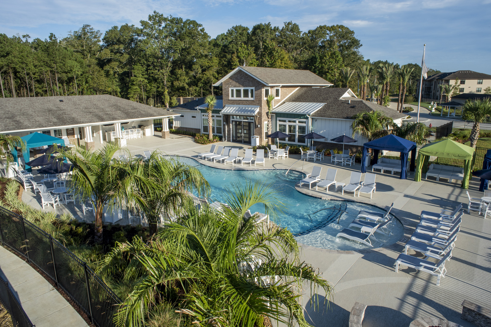 Cabana-Style Pool and Sun Deck at The Palms at Juban Lakes Apartments in Denham Springs, Louisiana