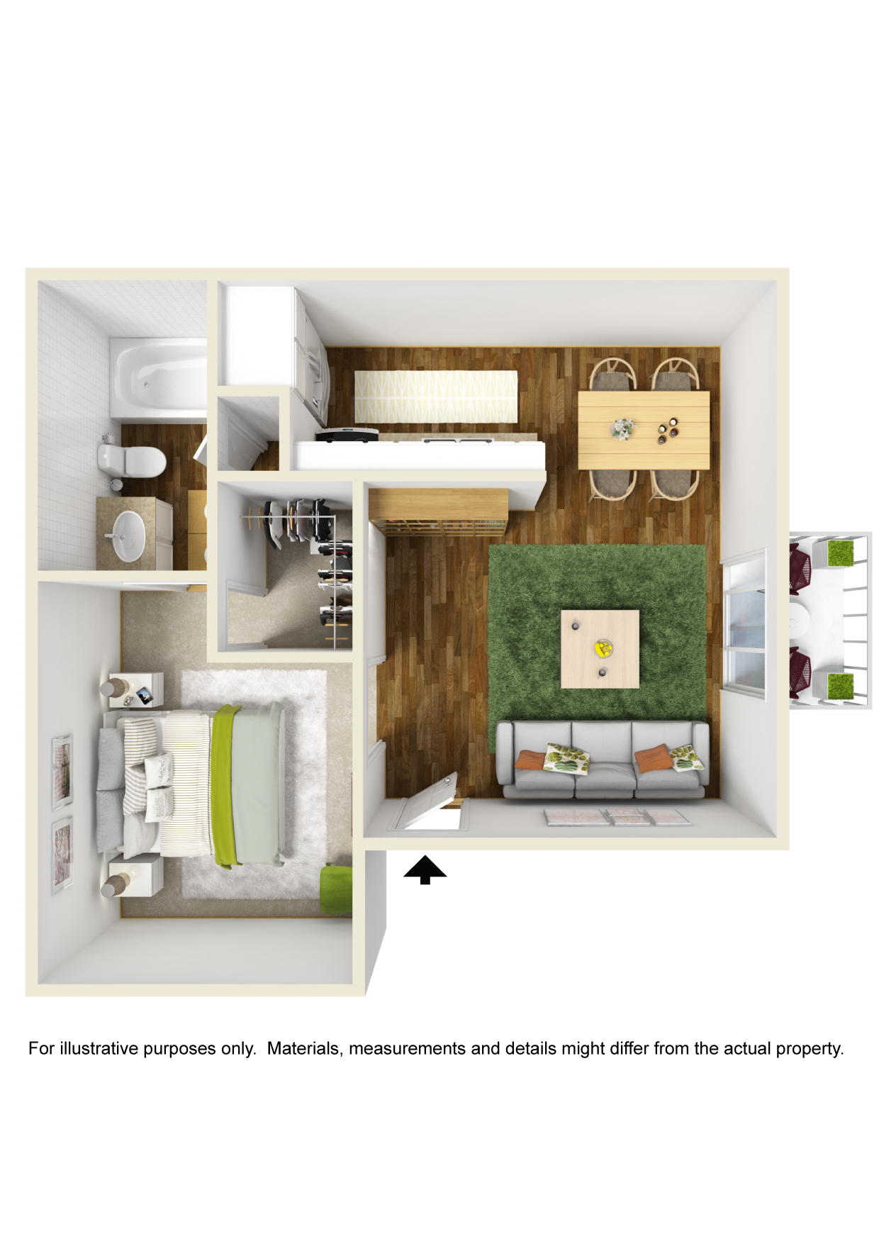 The Park at Forest Oaks - Floorplan - 1 Bedroom- A