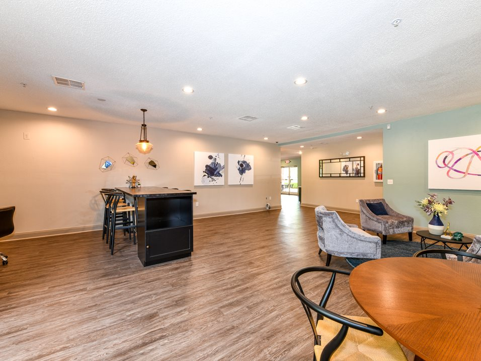 Clubhouse with Hardwood Floors at The Park at Forest Hill Apartments in Memphis, Tennessee