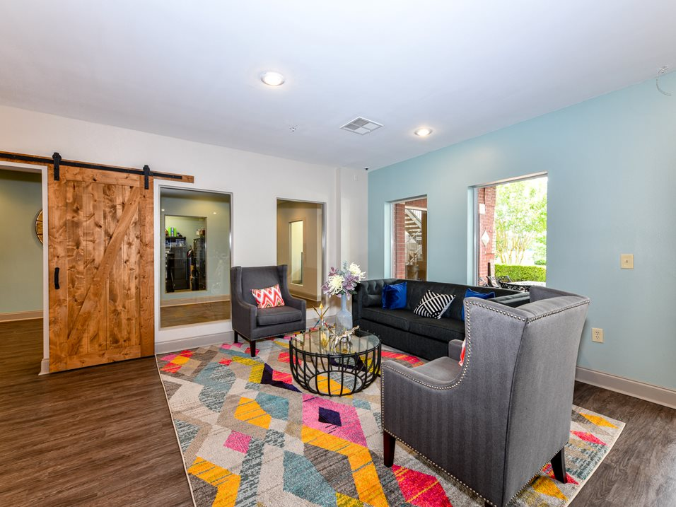 Communal Spaces Outside Apartment at The Park at Forest Hill Apartments in Memphis, Tennessee