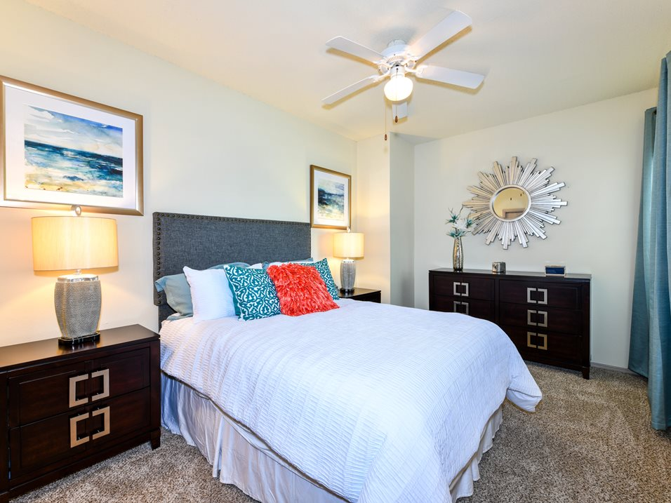 Bedrooms with Ceiling Fans at The Park at Forest Hill Apartments in Memphis, Tennessee