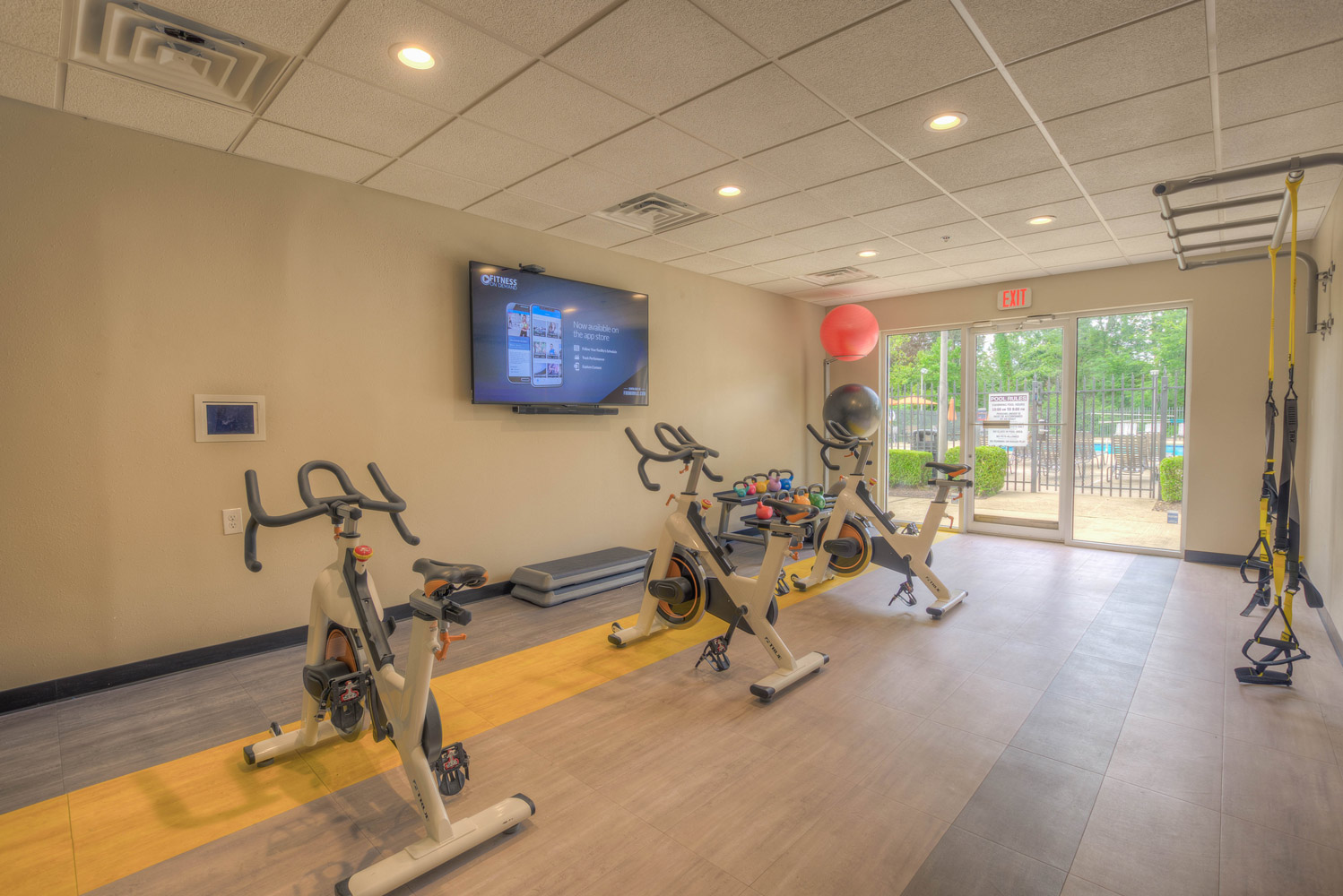 Fitness Center at at The Park at Forest Hill Apartments in Memphis, Tennessee
