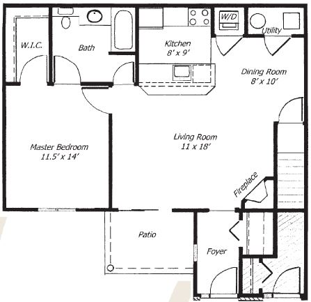 Parklands of Chili Apartments  - Floorplan - 1 Bed 1 Bath