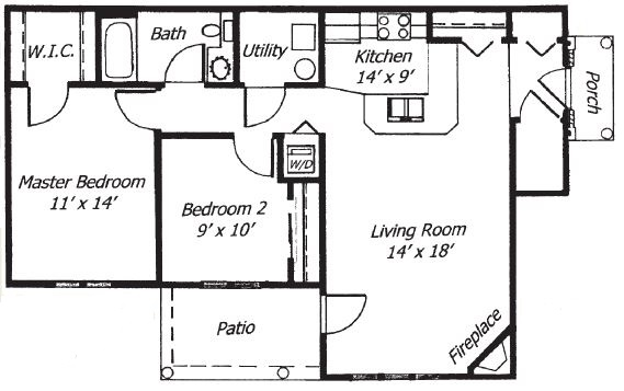 Parklands of Chili Apartments  - Floorplan - 2 Bed 1 Bath