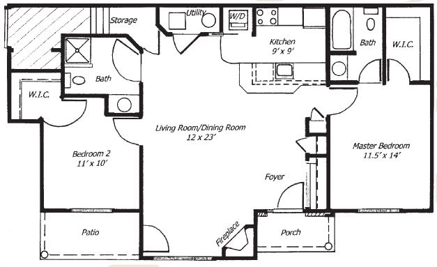 Parklands of Chili Luxury Apartments - Floorplan - 2 Bed 2 Bath