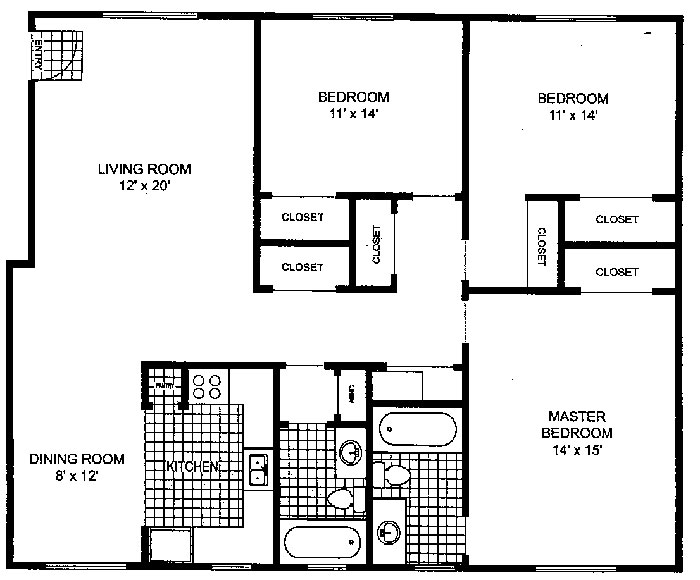 Park Pointe Apartments - Floorplan - 3 Bedroom